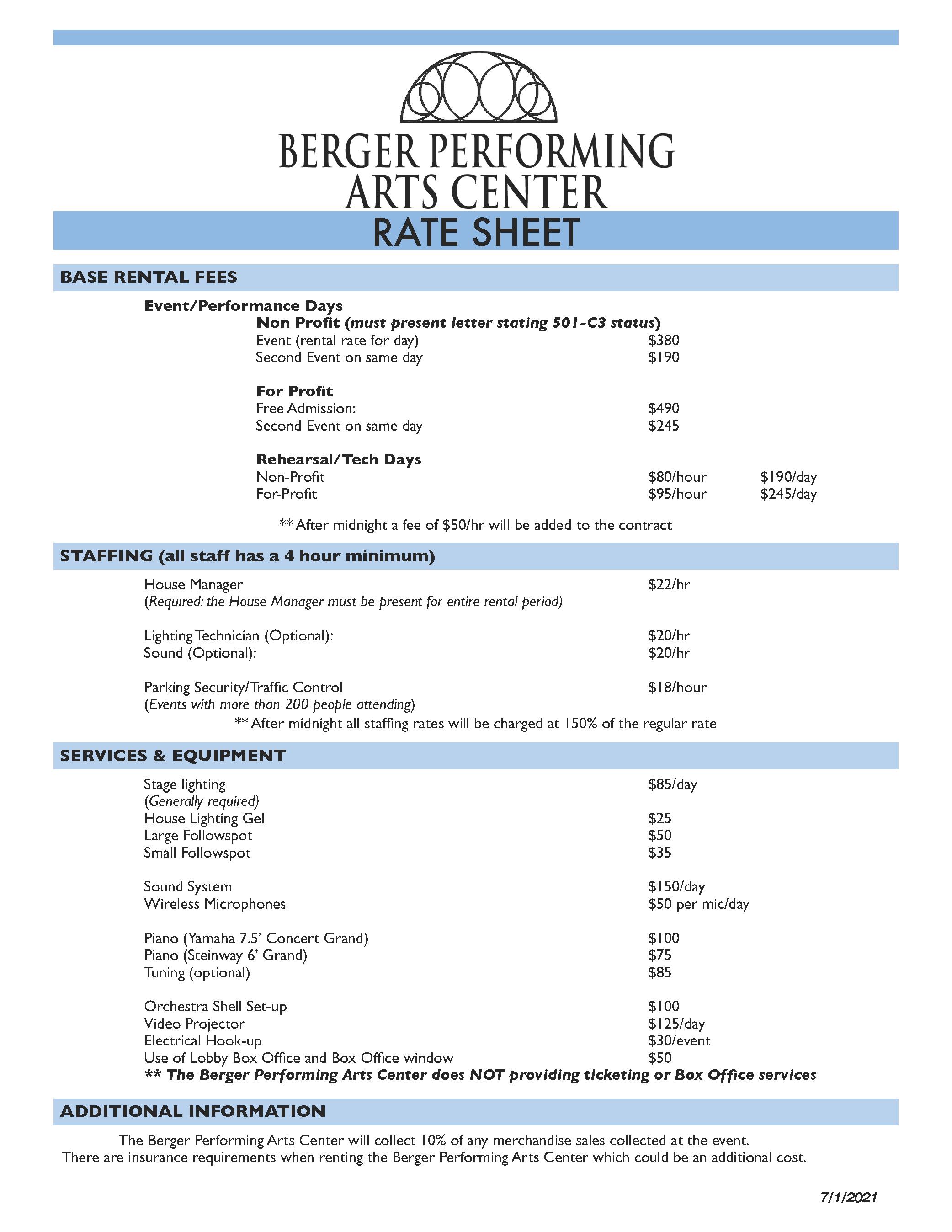Berger Rate Sheet 21