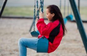 Little girl swings