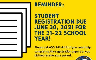 Reminder: Student Registration Due 6/30/21