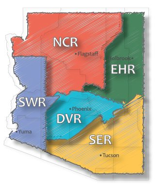 Arizona map displaying the Co-op Regional areas