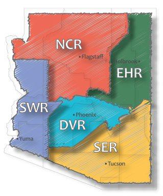 Arizona map displaying the Co-op Regional areas