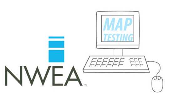 MAP Testing graphic featuring a computer system with the words: NWEA