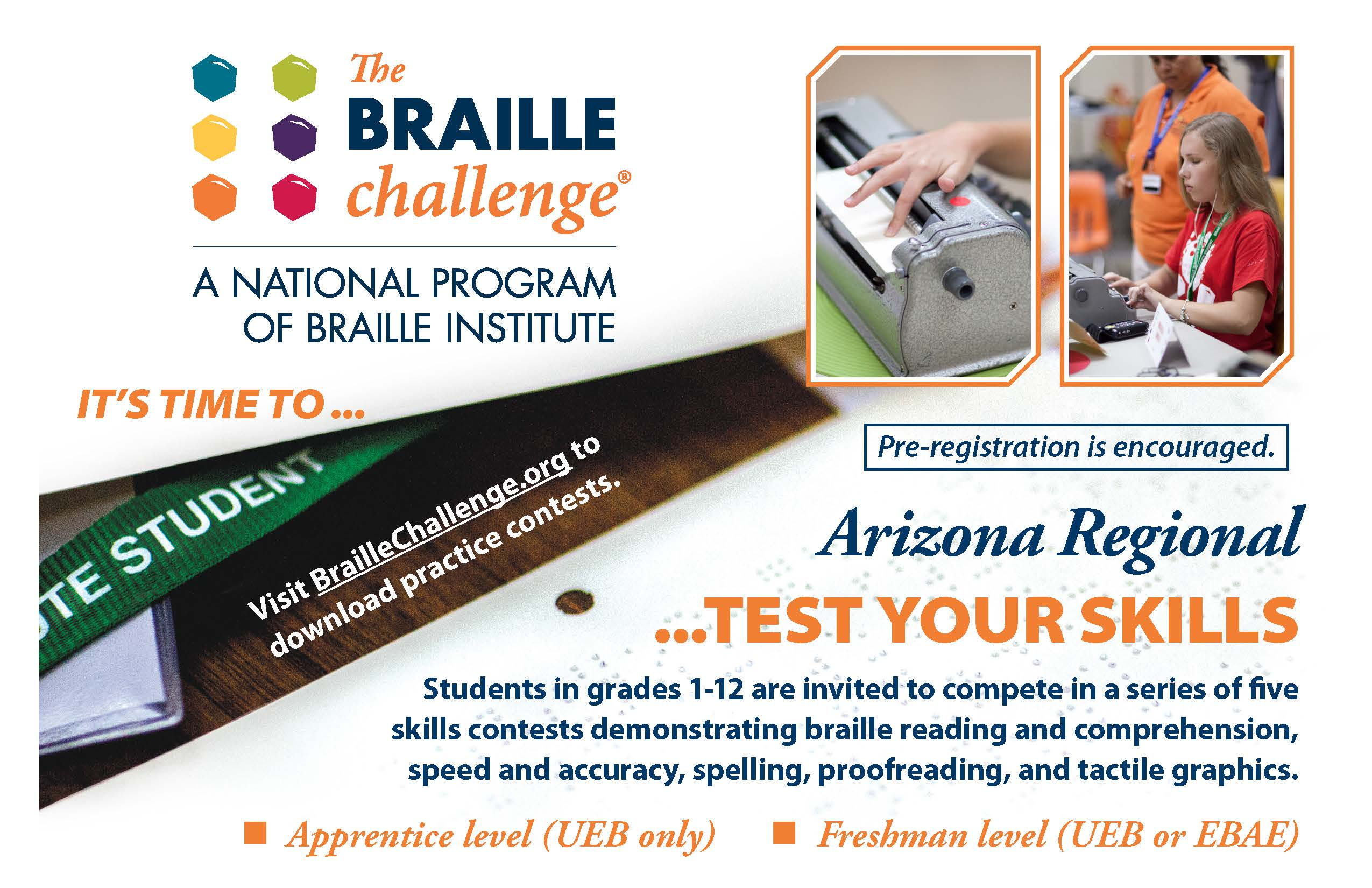 The Braille Challenge graphic featuring pre-registration information