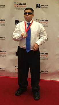 Joey Parra, 2016 Braille Challenge Sophomore Division second place winner, poses for a portrait at the Braille Institute's 2016 Braille Challenge National Finals in Los Angeles on June 18, 2016. (Photograph courtesy of Grace Parra)