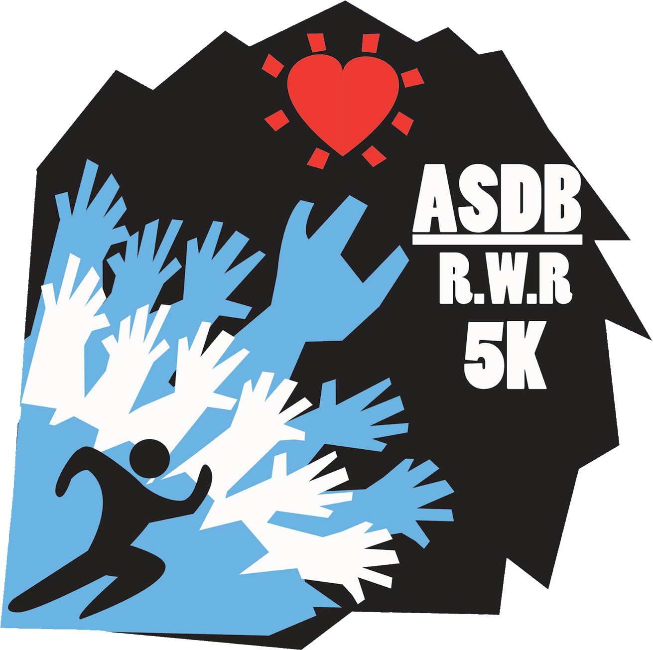 ASDB 5k graphic featuring abstract graphics of figures running and the text ASDB 5K