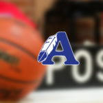 """Image that displayes a basketball on the court with an overlay of the the ASD Sentinel Logo featuring a blue """"A"""" with a feather"""