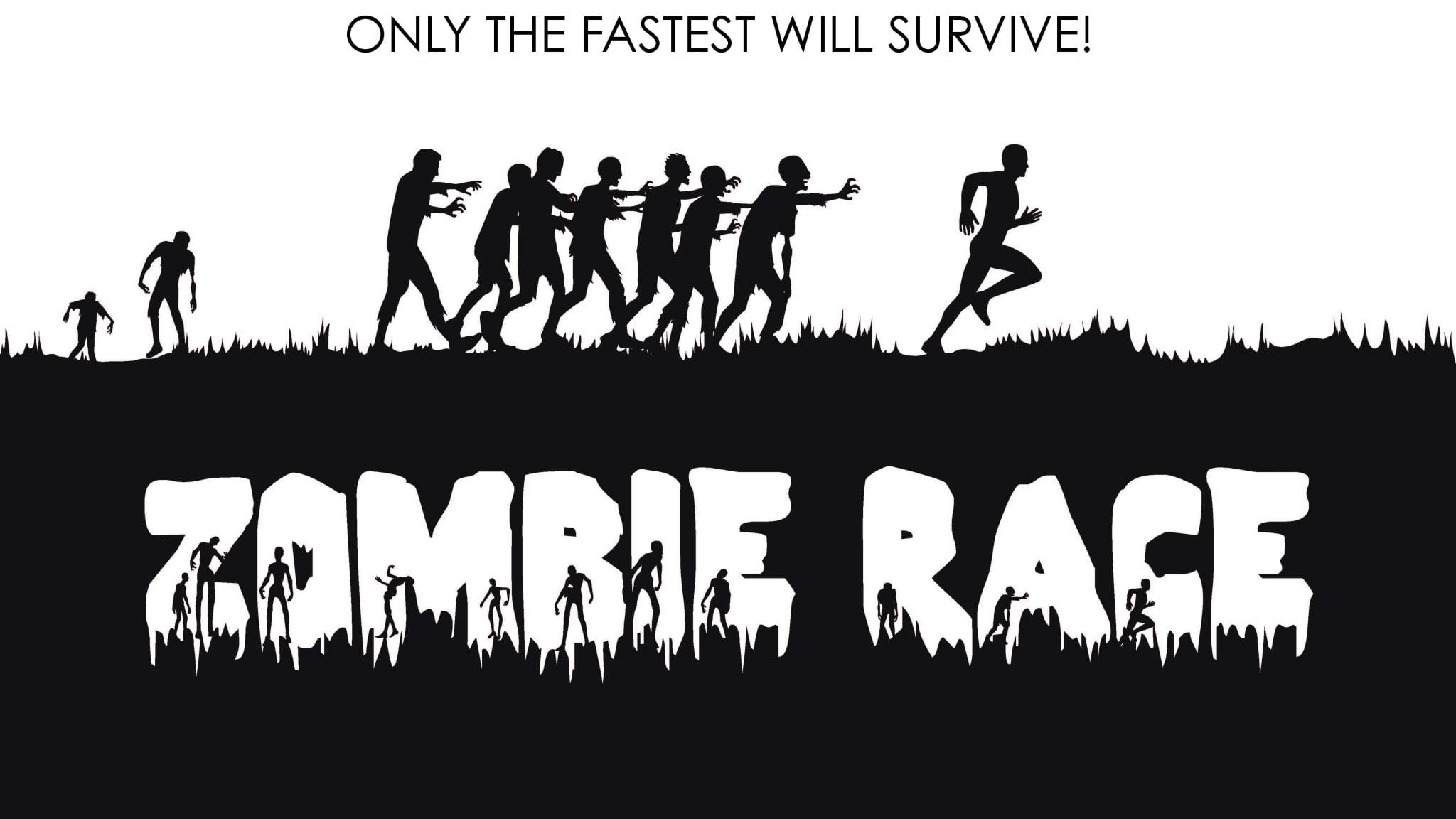 graphic of the zombie race featuring silhouettes of zombies chasing a runner