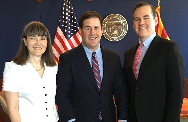 From left to right, ASDB Superintendent Reichman, Governor Ducey and ASDB Board President Syms