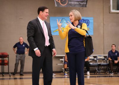 Governor Ducey and principal Courtney Fritz having a conversation
