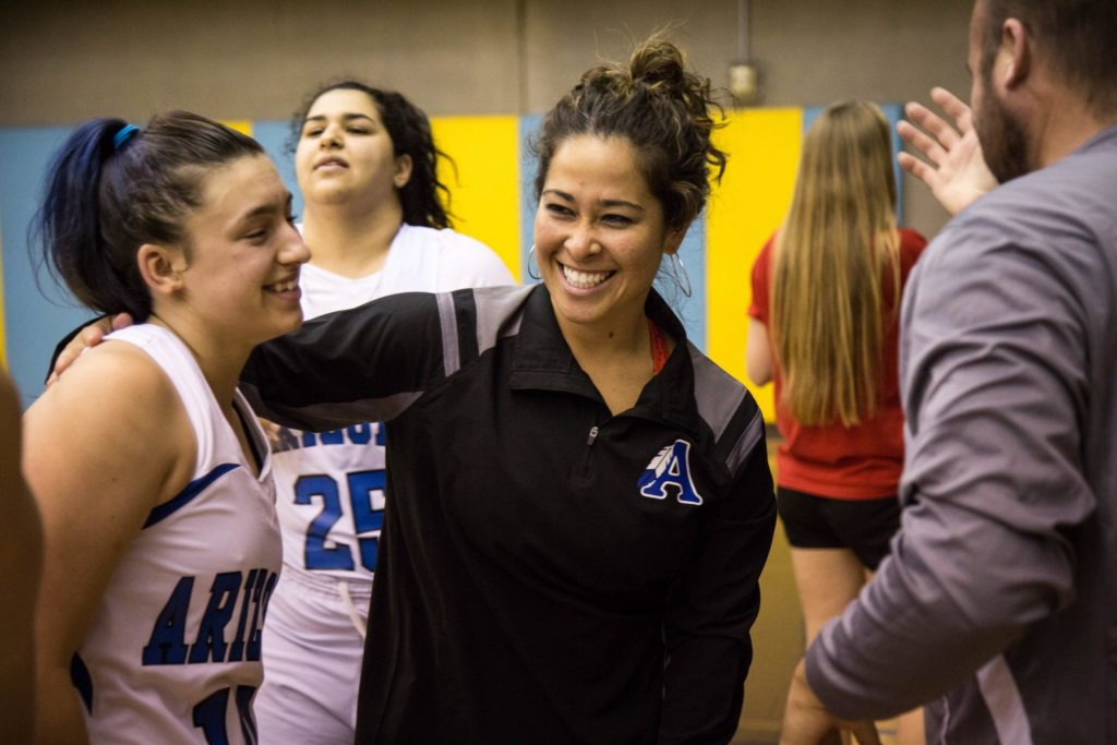 ASD girls basketball coach embraces a player