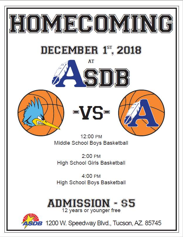 Homecomingg 2018 poster for the ASDB sentinels. They are playing PDSD on Dec. 1 at ASDB from 12:30 pm to 6 pm.