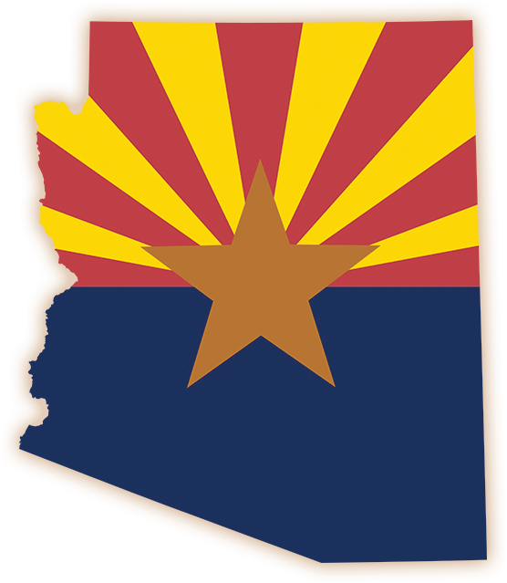 Arizona state outline with state flag