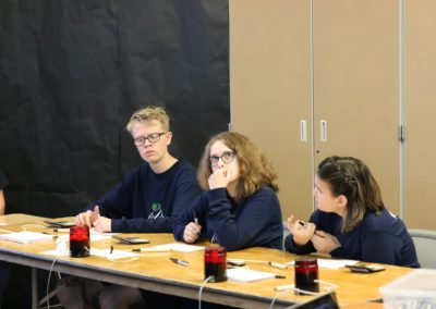 Academic Bowl participants sit at table