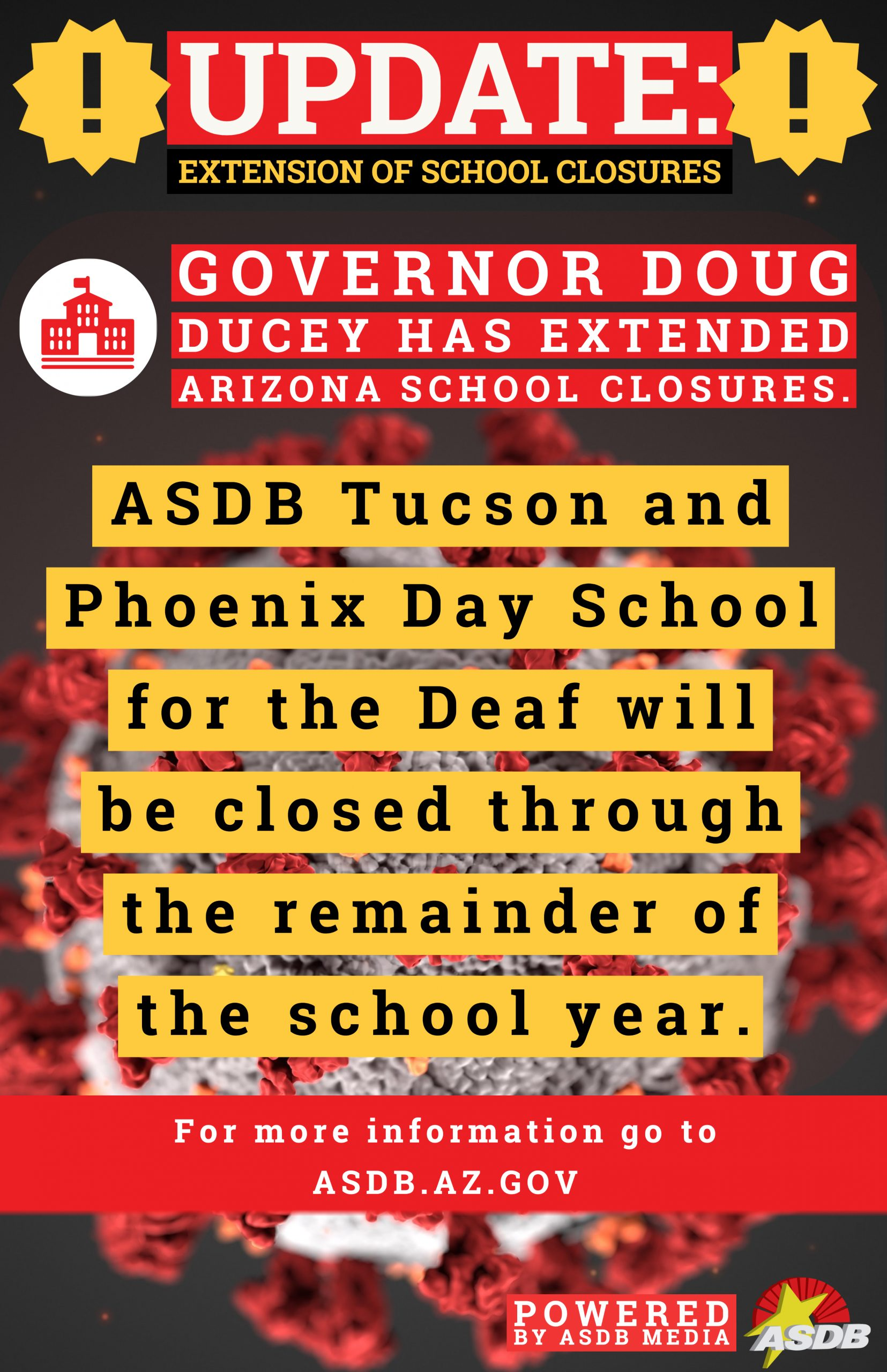 school closure graphic - school will be closed for the remainder of the year