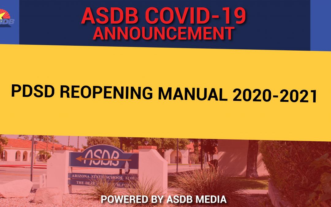 PDSD REOPENING MANUAL 2020-2021
